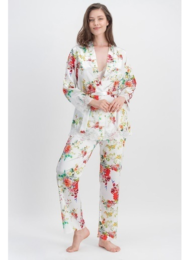 Arnetta Arnetta Flowers Of Summer Ekru Kadın Askılı Saten Pijama Takımı, Sabahlık 3'Lü Takım Ekru